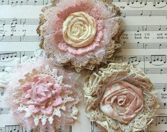 Shabby Chic flor de tela flor boda decoración por ShabbyChicLoft