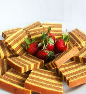 Spekkoek or Kueh Lapis - literally means 'bacon cake' is a Dutch-Indonesian butter cake