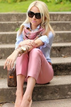 pink pants & chambray shirt. Love the softness of colors.