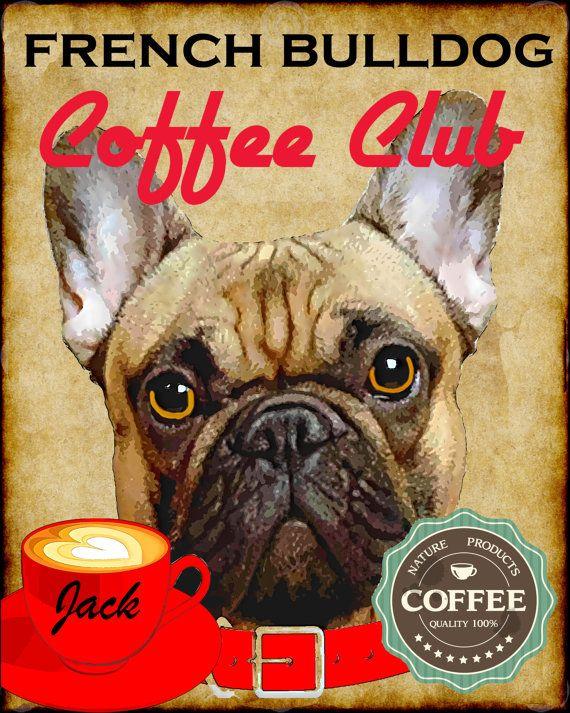 French Bulldog Dog Coffee Club Art Poster Print by SwiftArtStudio, $23.00