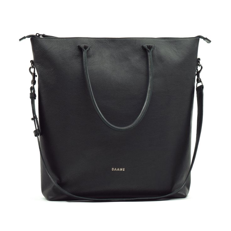 "15"" Leather Laptop Tote Black 