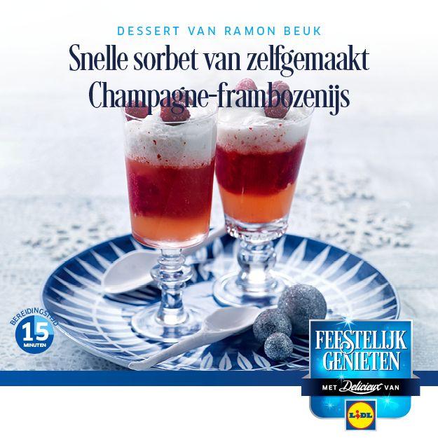 #Recept voor Snelle sorbet van zelfgemaakt Champagne-Frambozenijs #Lidl #Dessert #Champagne