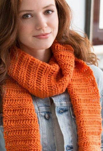 Free Knitting Pattern Beginner Garter Drop-Stitch Scarf - Michelle Maks proves shows you how easy it is to make a quick drop-stitch scarf If you can do a knit stitch and you can wrap yarn around a needle. Video tutorial included.