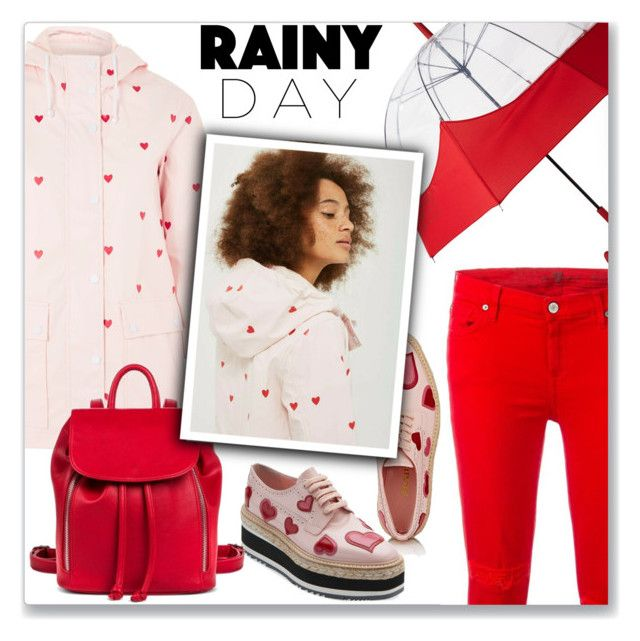 """""""It's Raining, It's Pouring"""" by queenvirgo on Polyvore featuring Topshop, Hunter, Prada, 7 For All Mankind and Mossimo Supply Co."""