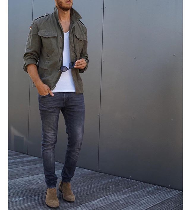 Military Green Jacket Jeans And Chelseaboot By Berndhower Men 39 S