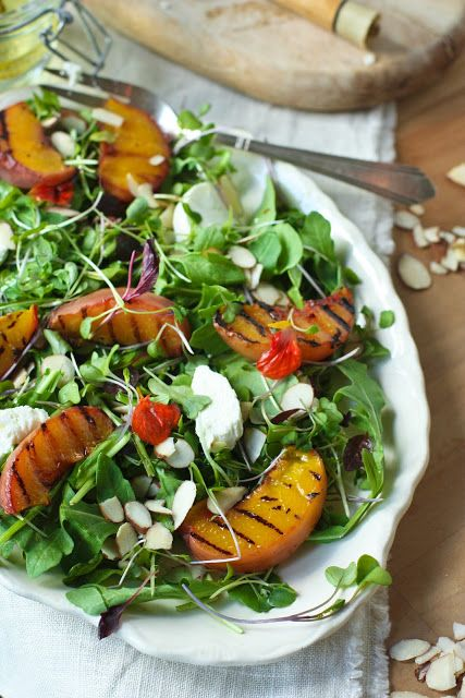 Feasting at home- Grilled Peach Salad with goat cheese, almonds and a white balsamic vinaigrette