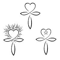 The ankh is an ancient Egyptian symbol representing life, and it´s been joined to a heart to indicate that love is a an important part in life, just like passion and changes are (fire), and hope too (the star).