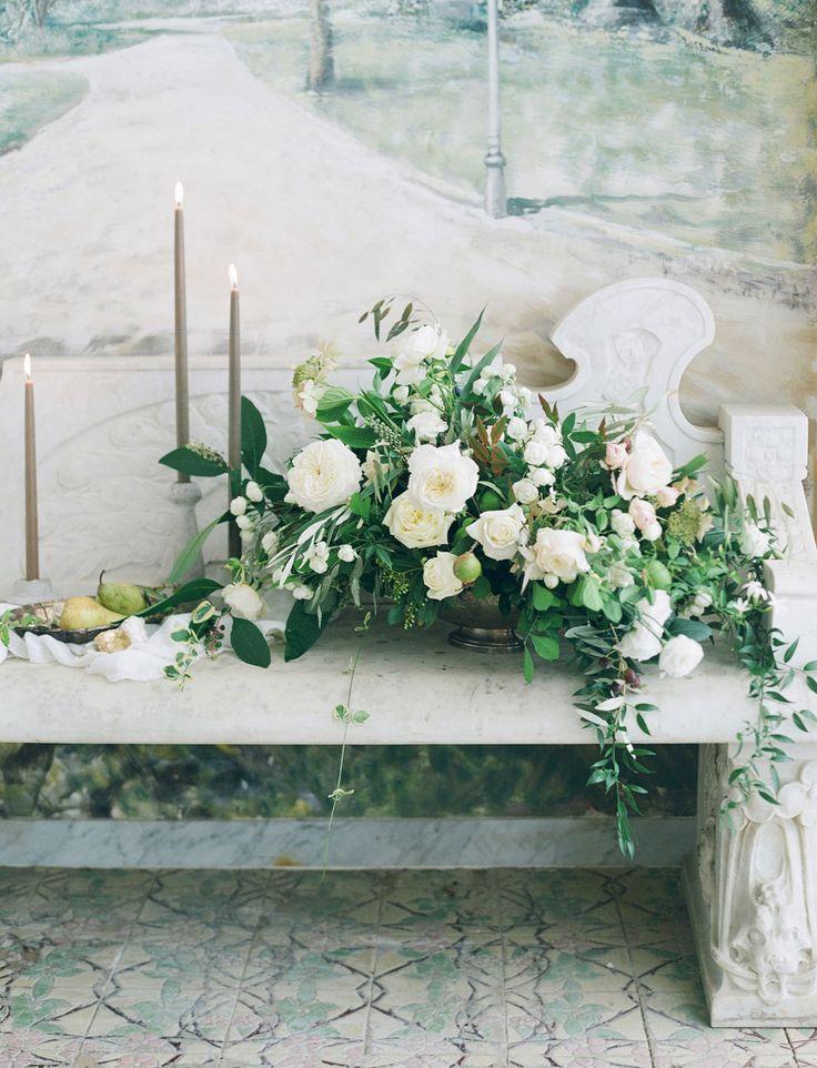 Italian Bridal Inspiration, candlesticks, grey, rustic centerpiece, garden rose, olive LVL Weddings & Events, Elizabeth Messina, Inviting Occasion