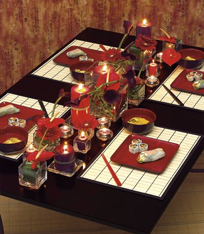 Gorgeous table setting for Japanese dinner!. Cosecant's comment: Yes, really Nice . . .