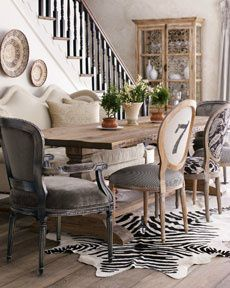 Mismatched Dining Room Chairs And Zebra Rug!
