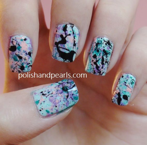 Splatter nails  Google Image Result for http://polishandpearls.com/wp-content/uploads/2013/05/1212.jpg