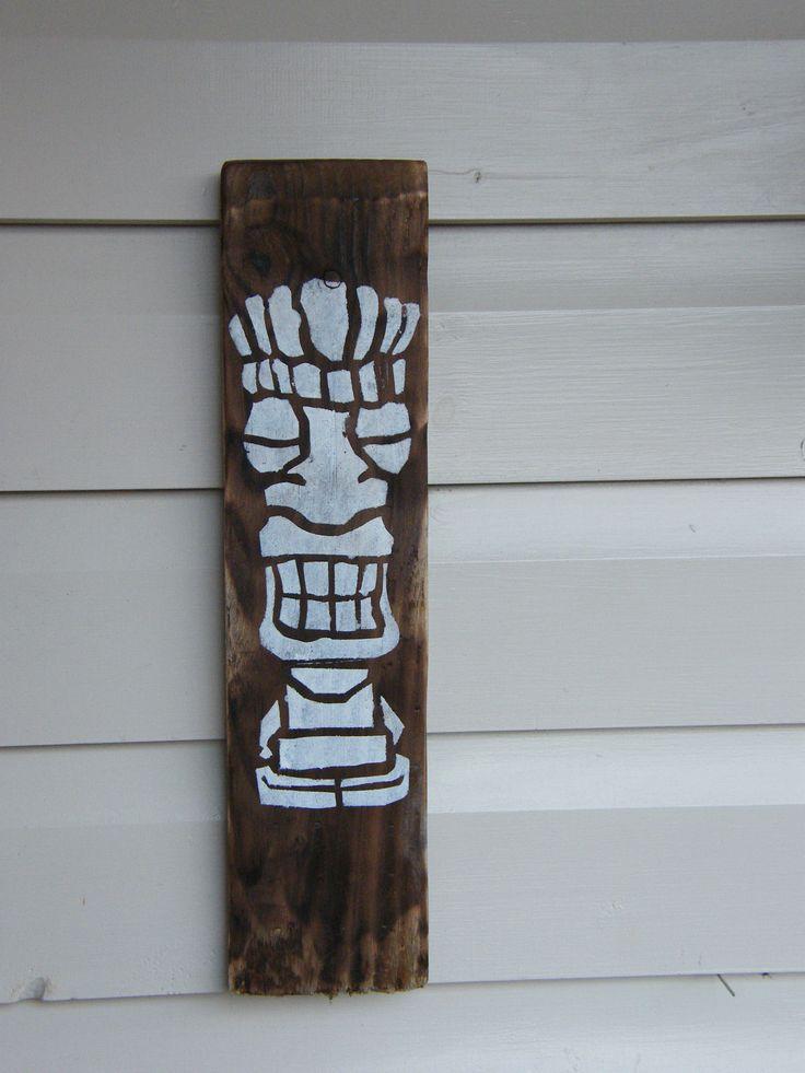 £5.00 Burnt wood Tiki Wall hanging art