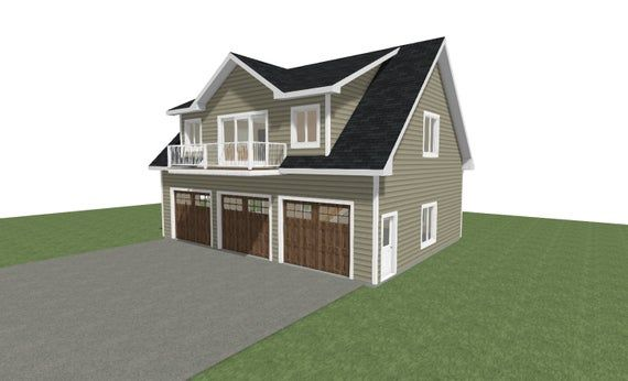 The Black Ash Garage Plan Slope 12 12 Primary Pitch Sizes You Choose Width X In 2020 Above Garage Apartment Garage Guest House Garage Plans Detached