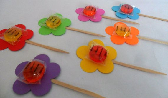 Candy Center Flower Cupcake Toppers and Party Favors by PartyFetti, $39.99