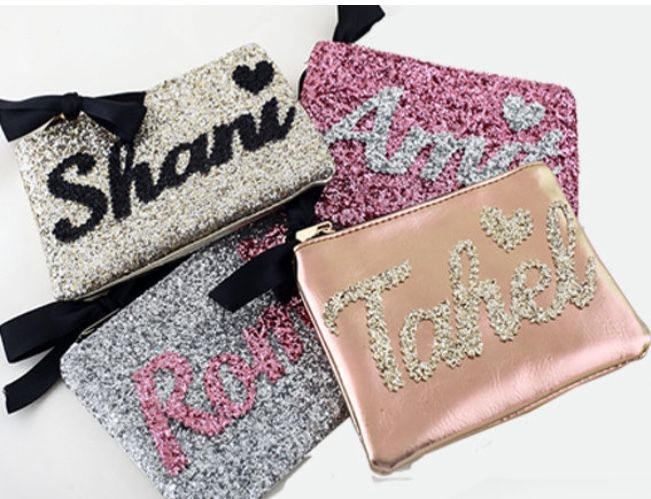 Personalized Makeup Bag Teal Glitter Makeup Pouch Custom Makeup Bag With Name Personalized Accessories Personalized Makeup Bags Glittery Gifts