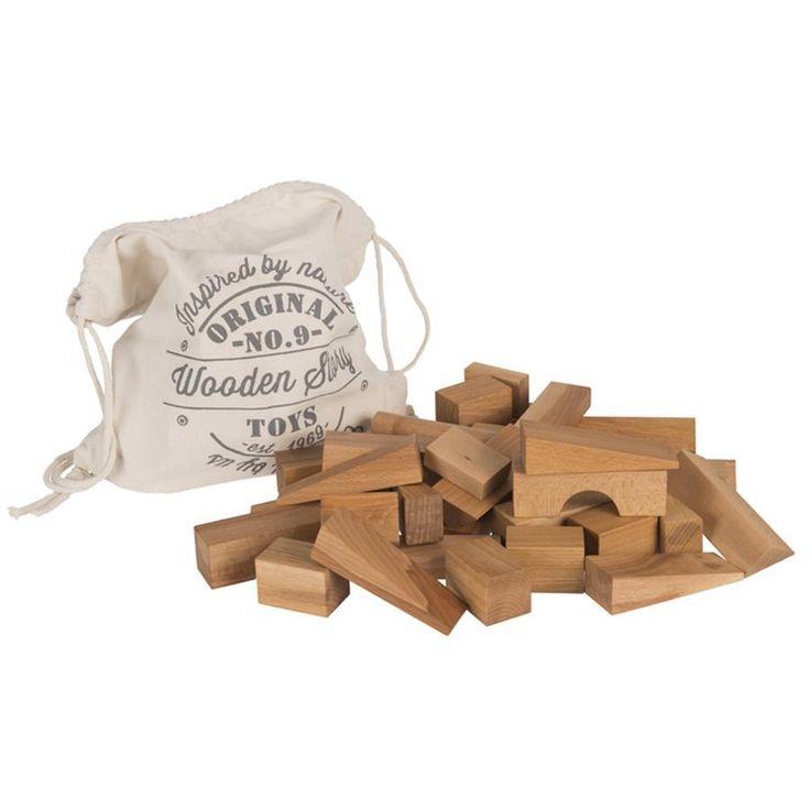 holzbauklötze natur xl 50 teile mit baumwollsack  wooden