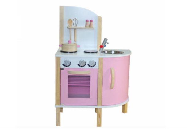 Pink Wooden Play Kitchen with Accessories