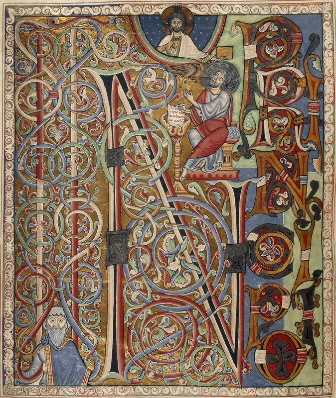 Arnstein Bible ~ Image from the incipit page of St John's Gospel, in the Arnstein Bible (1172)