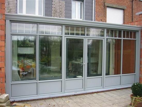 Veranda met dubbele deur in aluminium profiel - Veranda's Waver Construct