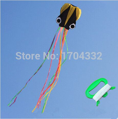 Free Shipping Outdoor Fun Sports 2015 NEW Nylon Cloth 4m Power  Octopus  Software Kite With Handle And Line Good Flying