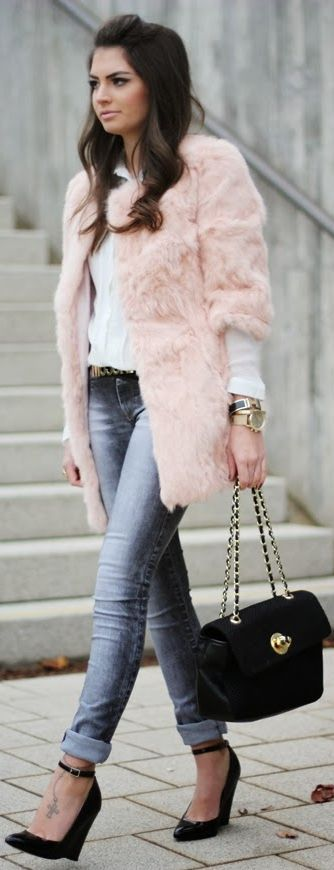 by Fashion Hippie Loves.  Don't you just love that pink coat for a chilly Valentine's Day celebration? Adorable!