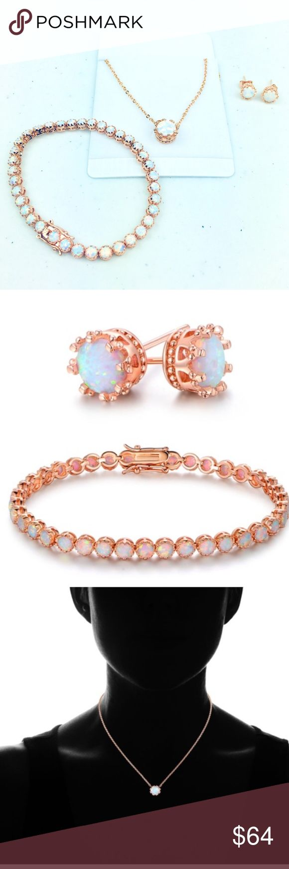 """Fire Opal Crown Jewelry Set 18K Rose Gold Plating Peermont 22.00 CTTW Lab-Created Fire Opal Crown Jewelry Set in 18K Rose Gold Plating Stone type: fire opal Stone treatment: lab-created Stone shape: round Birthstone of the month: October Total number of stones: 105 Total carat weight: 22 CTTW Metal: brass Plating: 18K rose gold Chain type: cable link Clasp type; Earrings: clip back Bracelet: open box with safety latches Necklace: lobster Product dimensions; Earrings: 0.3"""" (L) x 0.3"""" (W)…"""