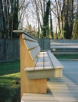 REALLY LIKE THIS.  SUCH A SMART IDEA.  WE NEED TO BUILD THIS INTO AT LEAST ONE SIDE OF THE DECK. Deck bench idea
