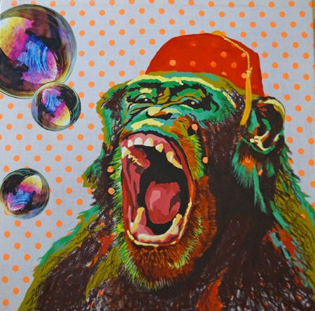 Kelly  Sullivan  About Time You Cleaned Up Your Own Poo, Bubbles! - 2014   Acrylic paint, oil stick & mixed media on Fluoro orange dot fabric canvas   30 x 30 cm