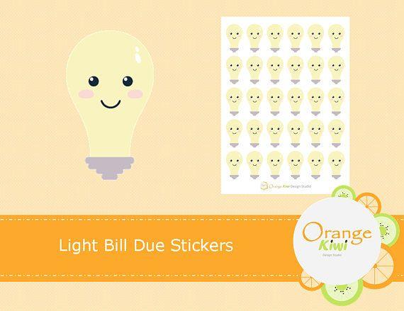 Light Bill Stickers, Bills Due Stickers, Planner Stickers, Hydro Bill