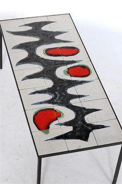 D E M O D E M I X : BELGIUM VINTAGE ART TILE TOP COFFEE TABLE ベルギー ヴィンテージ タイルトップ コーヒーテーブル
