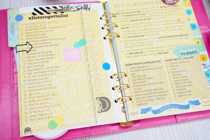 My #listersgottalist Challenge on Daisy Day Planners ******printed list on scrapbooking paper******