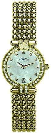Michel Herbelin Ladies Mother Of Pearl Dial Gold Plated Perle Bracelet Watch 16873/44XBP59