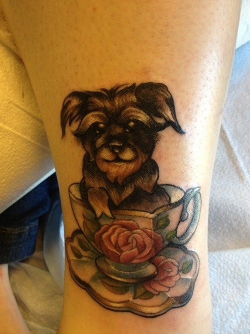 Doggy teacup tattoo