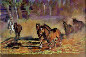 Spęd koni  Autor: Malina Kokoszczyńska  - pastele suche  www.kokkoart.pl  #art http://kokoszczynska.pl/ #kokoszczynska #painting