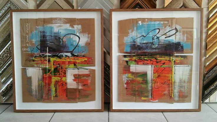 """"""" muliple layerz of chaos in an upsidedown 'L' """" acrylic on cardboard box because canvas is expensive, each 810x720 framed"""