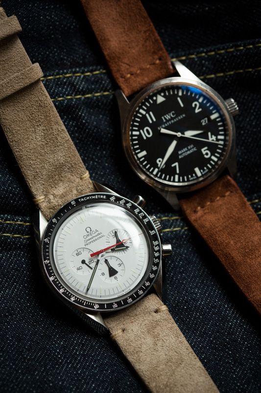 IWC and Omega with Hodinkee Watch Straps in sand and fox suede