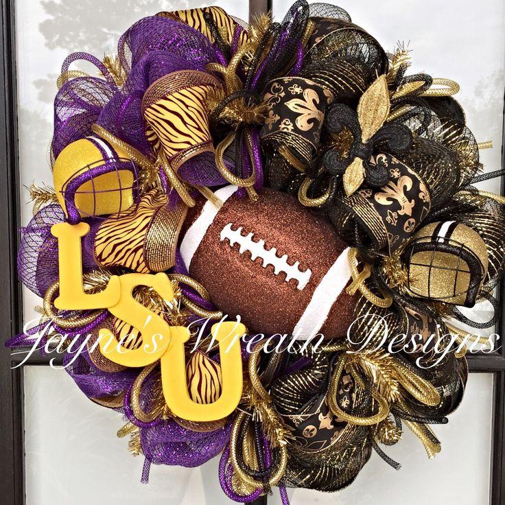 LSU/ Saints Football Wreath with Helmets, Fleur de Lis, Football, and Letters  Jayne's wreath designs on FB and Instagram