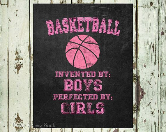 Girl's Basketball Wall Art Basketball Invented By Boys Perfected By Girls Kids Room Decor Girls Room Decor