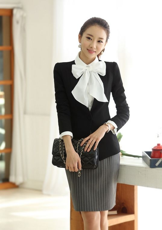 36 best Korean Office Lady Style images on Pinterest | Business outfits Office looks and Ladies ...