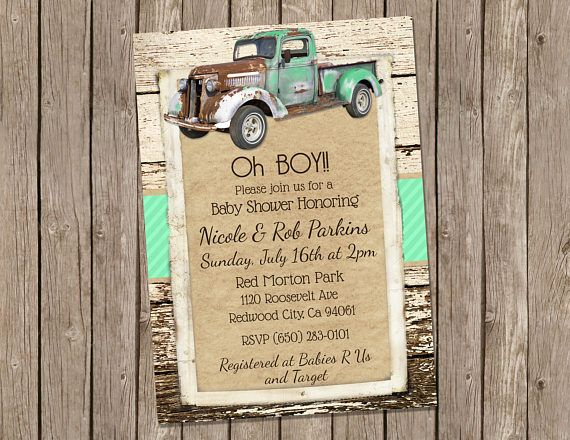 Vintage Truck Baby Shower Invitation, Mint Green and Rustic Wood - printable 5x7