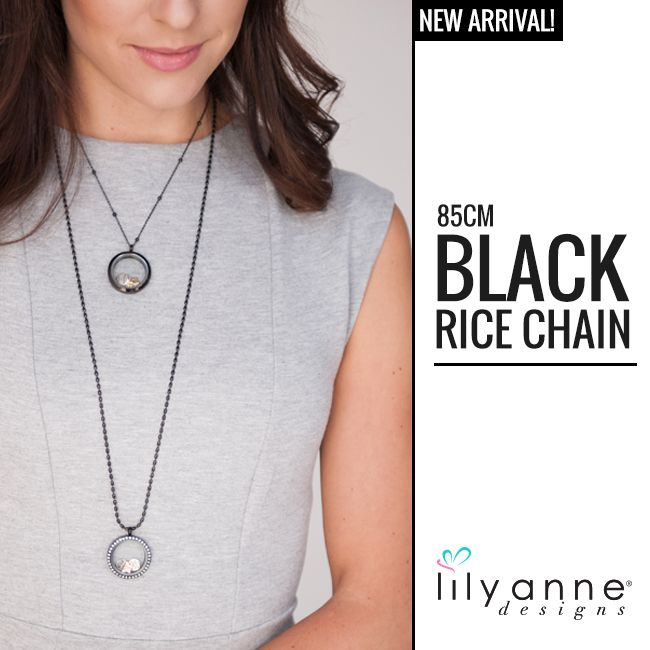 Who's loving our new Black Rice Chain? x   #LilyAnneDesigns #BlackRiceChain #LongChain #NewProducts #PersonalisedJewellery