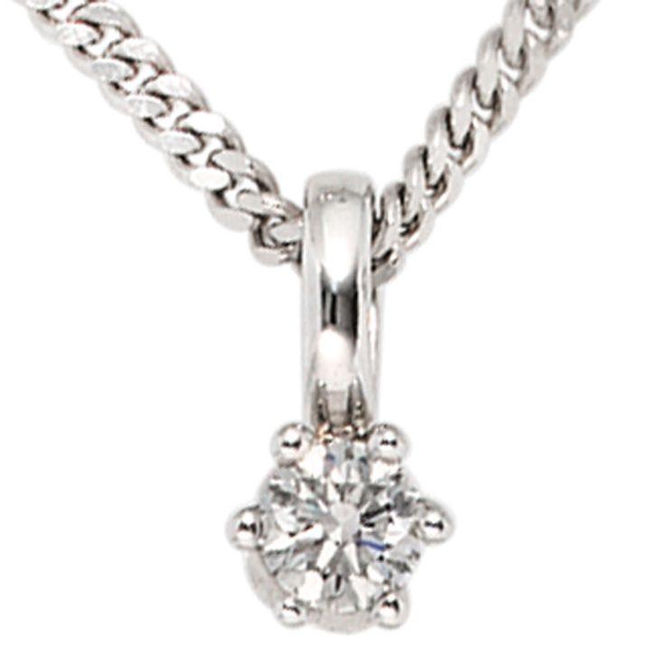 Anhänger 585 Gold Weißgold 1 Diamant Brillant 0,25ct. A36156