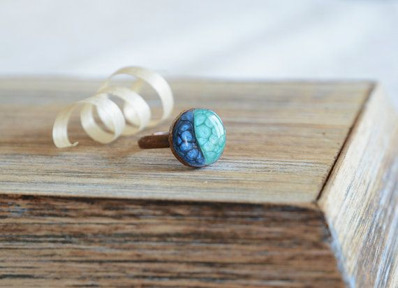 Hand painted sparkling pearly teal shades of blue by MyPieceOfWood