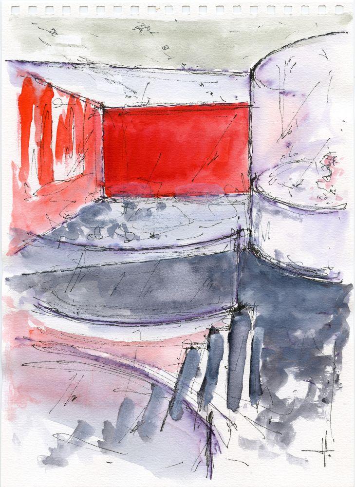 Acquerello di Luca Moretto. Studio del nuovo ingresso al collegio universitario Einaudi, sezione Po, di Torino. In primo piano la rampa d'ingresso; in alto l'emeroteca. www.lucamoretto.it