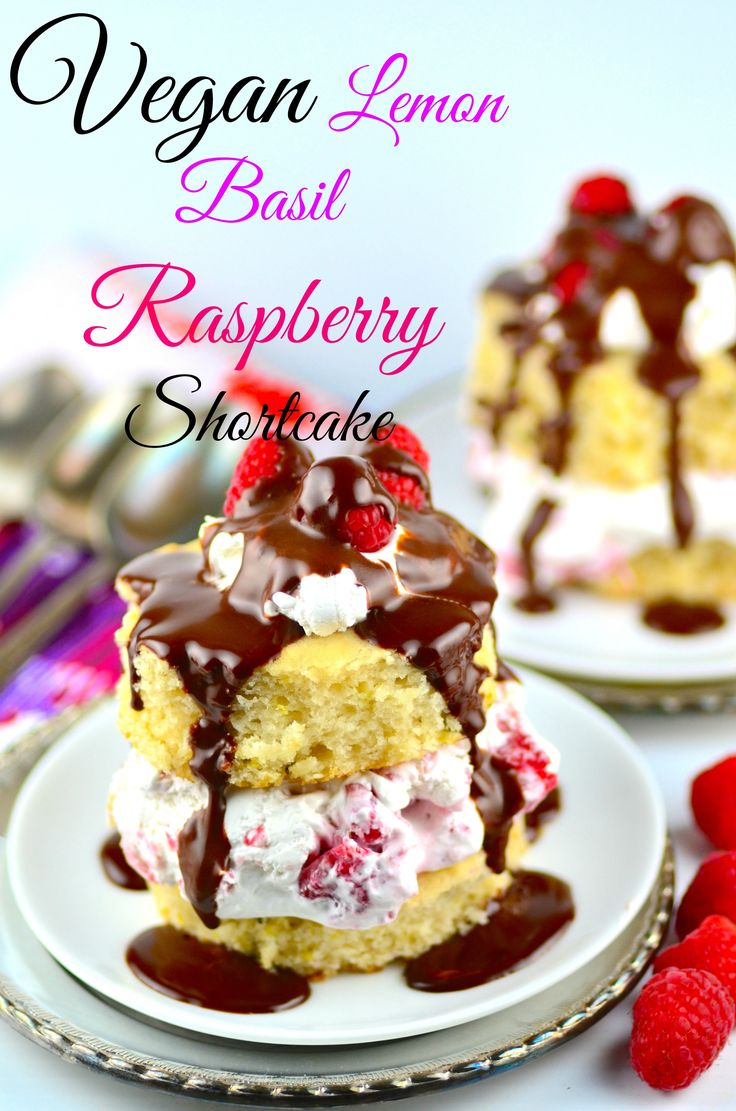 Vegan Lemon Basil Raspberry Shortcake - #vegan #desert #kosher #raspberry #cake #mothersDay #brunch #lemon #basil