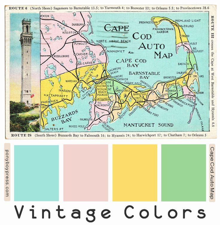 Vintage Color Palettes Cape Code Auto Map Vintage