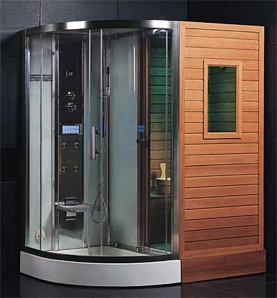 Combination Finnish Sauna & Steam Shower Enclosure with Rain Shower, Chromatherapy Lighting, 4 Body Sprays, Sauna Stove, FM Radio