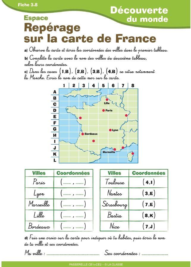 Trois documents destinées aux élèves de CE1 - CE2 pour aborder le travail sur la carte de la France.