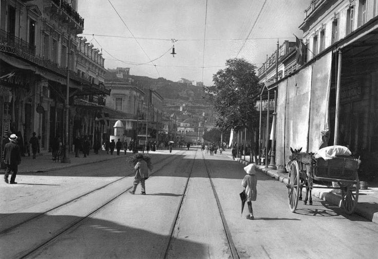 Wow - What a difference a century makes! Athenas Street, Athens, 1920 - well, at least the views the same!