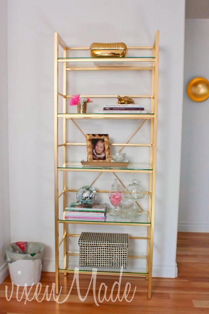 diy gold etagere bookcase. Black Bedroom Furniture Sets. Home Design Ideas